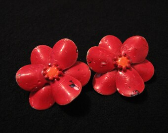 Vintage Red Enameled Flower Clip Earrings