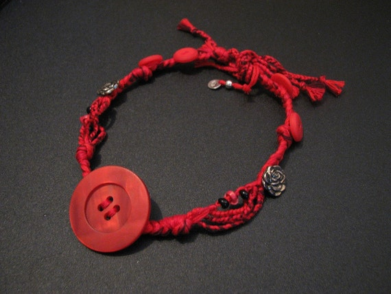 Handmade Recycled Bohemian Red Button Ladybug Rose Embroidery Thread Choker Necklace