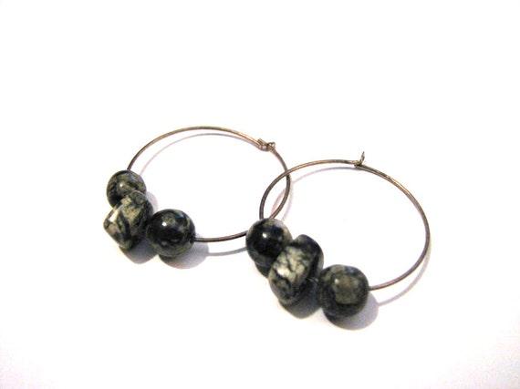 Vintage Silver Tone Hoop Natural Marble Stone Rock Pierced Earrings