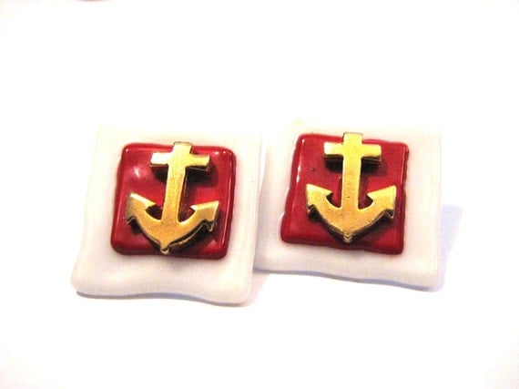 Vintage Chunky Square White and Red Glass with Gold Anchor Pierced Earrings