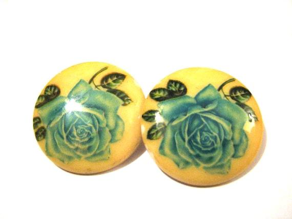 Huge Vintage Western Germany Blue Rose Painted Clip Earrings
