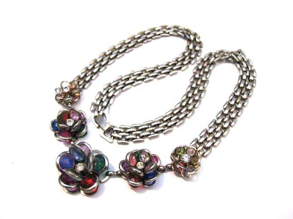 Vintage Silver Tone and Rainbow Pastel Faceted Glass Swarovski Crystal Bezel Set Open Back Flower Link Choker Necklace