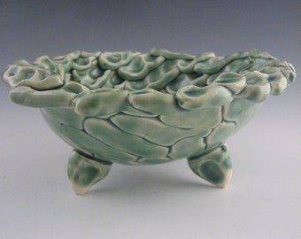 Handmade Emerald Green Pottery Thumb Print Bowl