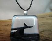 Glass Tile Photo Necklace - Crow