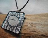Glass Tile Photo Necklace - Imagine