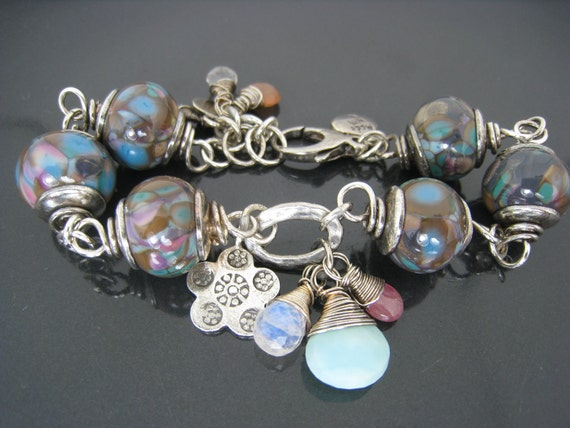 Reserved for NewMom. Lovely...Artisan Sterling Silver Wire Wrapped Glass Bead Bracelet Mocha Turquoise Pink