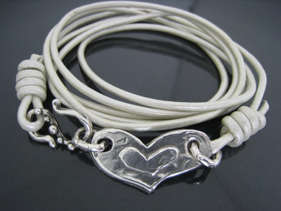 Artisan Leather and Sterling Silver Wrap Bracelet