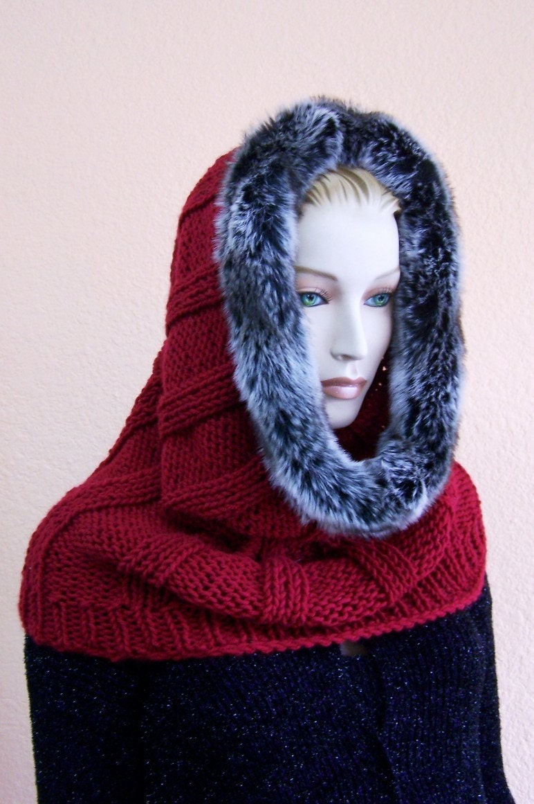 Knitted cowl hood neck warmer wrap. Beautiful Scarlet Red