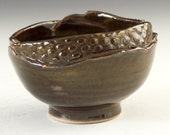 Ceramic pottery candy bowl, rich iron brown glaze