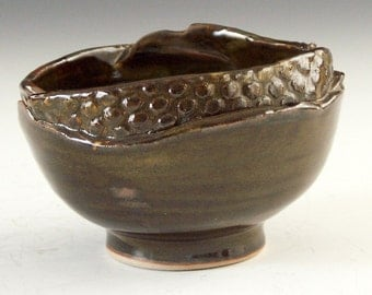 Ceramic pottery candy bowl, rich iron brown glaze