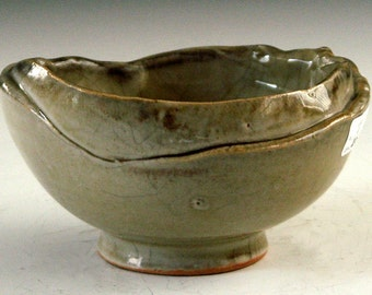 Candy dish ceramic pottery stoneware with crackle glaze