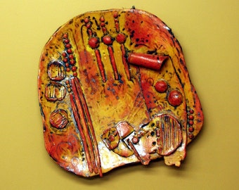Ceramic wall sculpture mural pottery and porcelain collector plate art platter