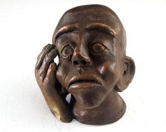 Bronze sculpture bronze statue bronze model worry statue worry sculpture bronze art cast bronze sculpture worrying thoughts Lazaroff