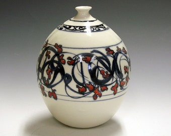 Porcelain ceramic pottery hand made bottle vase with red flowers