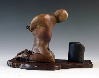 """Bronze sculpture, """"Having a bad day."""" by Lazaroff modeling craft figure form foundry cast gift sculpture"""