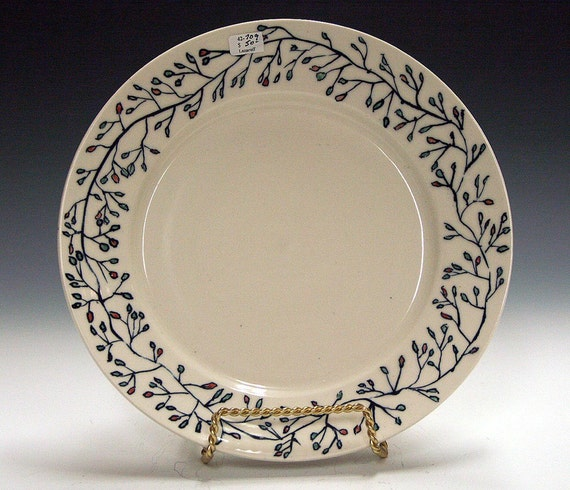 Ceramic pottery porcelain hand made and decorated serving plate