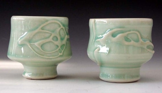 Ceramic and pottery porcelain tea bowls - Zen drinking cups