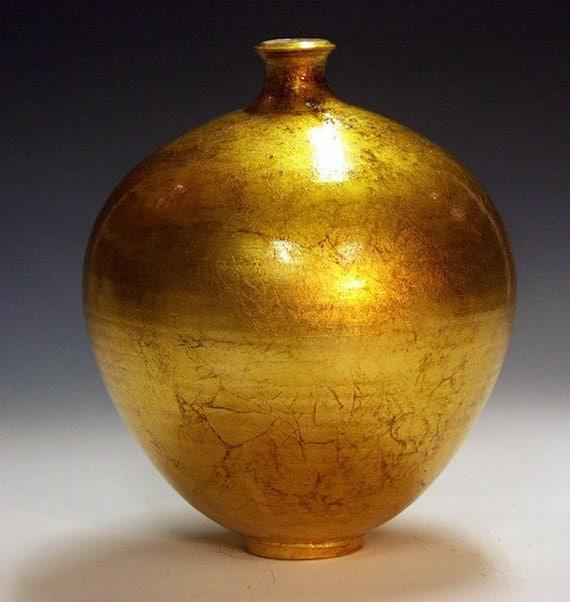 Gilded Porcelain Bottle Vase