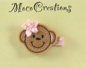 Adorable Embroidered Monkey with Pink Hair Bow Hair Clip- Perfect for All Ages