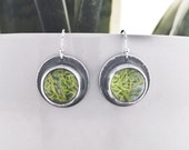 Sterling Silver Circle Moss Earrings