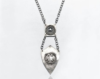 Sterling Necklace with Double Headed Eagle with Hematite