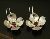 Silver and Garnet Dogwood Bloom Earrings
