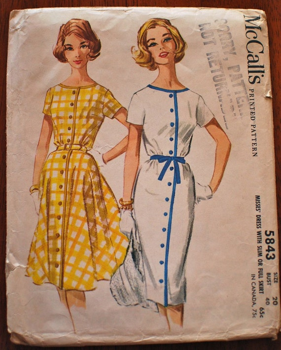 McCall's Vintage Sewing Pattern 5843 B40