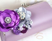 Glamour in Lilac and Purple -Statement Satin Clutch purse with Jewels, Handmade Organza and Satin Flower, Vintage Brooches, Czech Pearls and Austrian Crystal