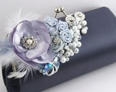Glamour in Dark Gray and Silver - Statement Bridal Clutch with Repurposed Vintage Brooches, Pearls, Plums and Satin Flowers