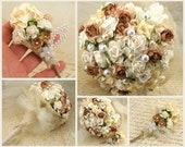 Bridal Bouquet- Paper, Fabric and Pearl Bouquet Shabby Chic Rustic Wedding in Ivory, Cream and Champagne - SolBijou