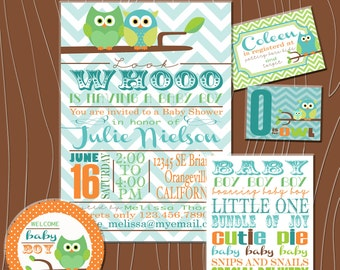 Custom Owl Baby Shower Printable Kit