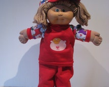 1/2 price CLEARANCE SALE - Red Pant Suit with Teddy Print Contrast and matching cap