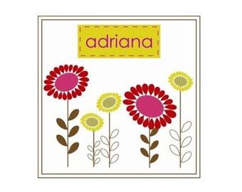 Personalized Bodysuit or Tee, Adriana Flower Design