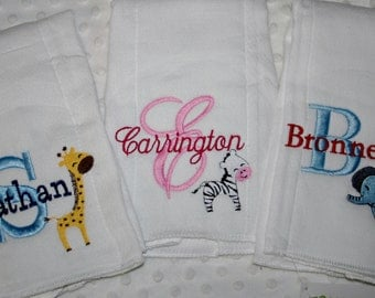 3 Personalized embroidered  Baby Burp cloths  Safari, Jungle Animals your choice