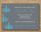 Chandelier Bridal Shower Invitation Digital Download