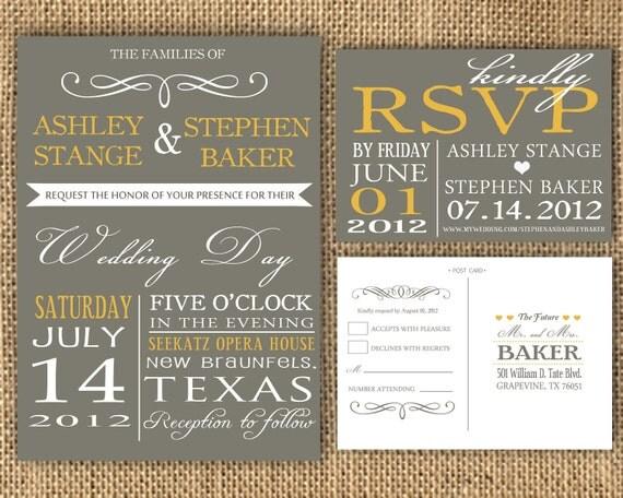 Yellow Grey Wedding Invitations: Items Similar To Gray And Poppy Yellow Wedding Invitation