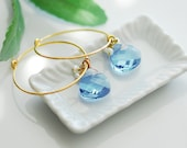 Peaceful water earrings . Gold filled blue earrings