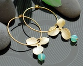 Bridesmaids gifts, Gold hoop earrings, Gold filled earrings, Orchid earrings, mint earrings, Bridesmaids jewelry, dangle earrings, aqua