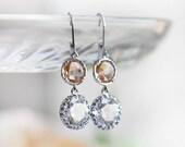 Peach earrings, peach crystal earrings, bridesmaid earrings, Nude Peach earrings, peach and silver