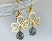 Gold chandelier earrings, Grey earrings, grey and gold jewelry, Rutilated Quartz earrings in gold