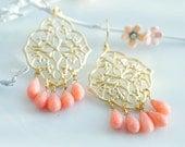 Coral chandelier earrings - Beach wedding earrings - Pink coral earrings - Bridesmaid jewelry- Peach and Gold chandelier earrings