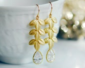 Gold leaf earrings, long gold earrings, Bridal jewelry, crystal gold earrings, Gold dangle earrings, teardrop crystal earrings, Ivy branch