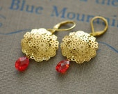 Red earrings, Golden garden earrings in red, Gold filled leverback earrings