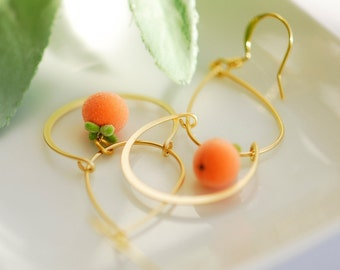 Polymer clay jewelry, Persimmon earrings, Polymer clay earrings, Orange earrings