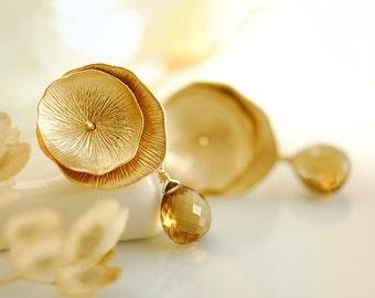 Stone earrings, gold drop earrings, gemstone earrings, gemstone stud earrings, quartz stud earrings, Gold stud earrings