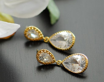 Clear crystal earrings, Pure Glamour earrings in gold