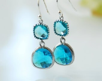 Blue earrings, Ocean blue earrings, Something blue, Océano earrings