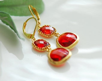 Bridesmaids Earrings, Red earrings, Ruby red earrings, Long red earrings, Red dangling earrings, Red crystal earrings, Leverback earrings