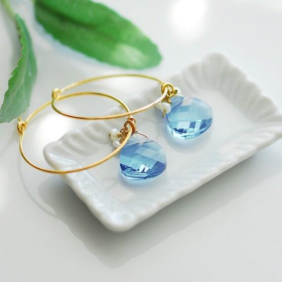 Peaceful water earrings . Gold filled blue earrings