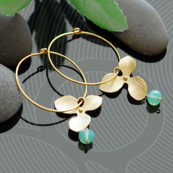 Bridesmaids gifts, Gold hoop earrings, Gold filled earrings, Orchid earrings, mint earrings, Bridesmaids jewelry, dangle earrings, aqua